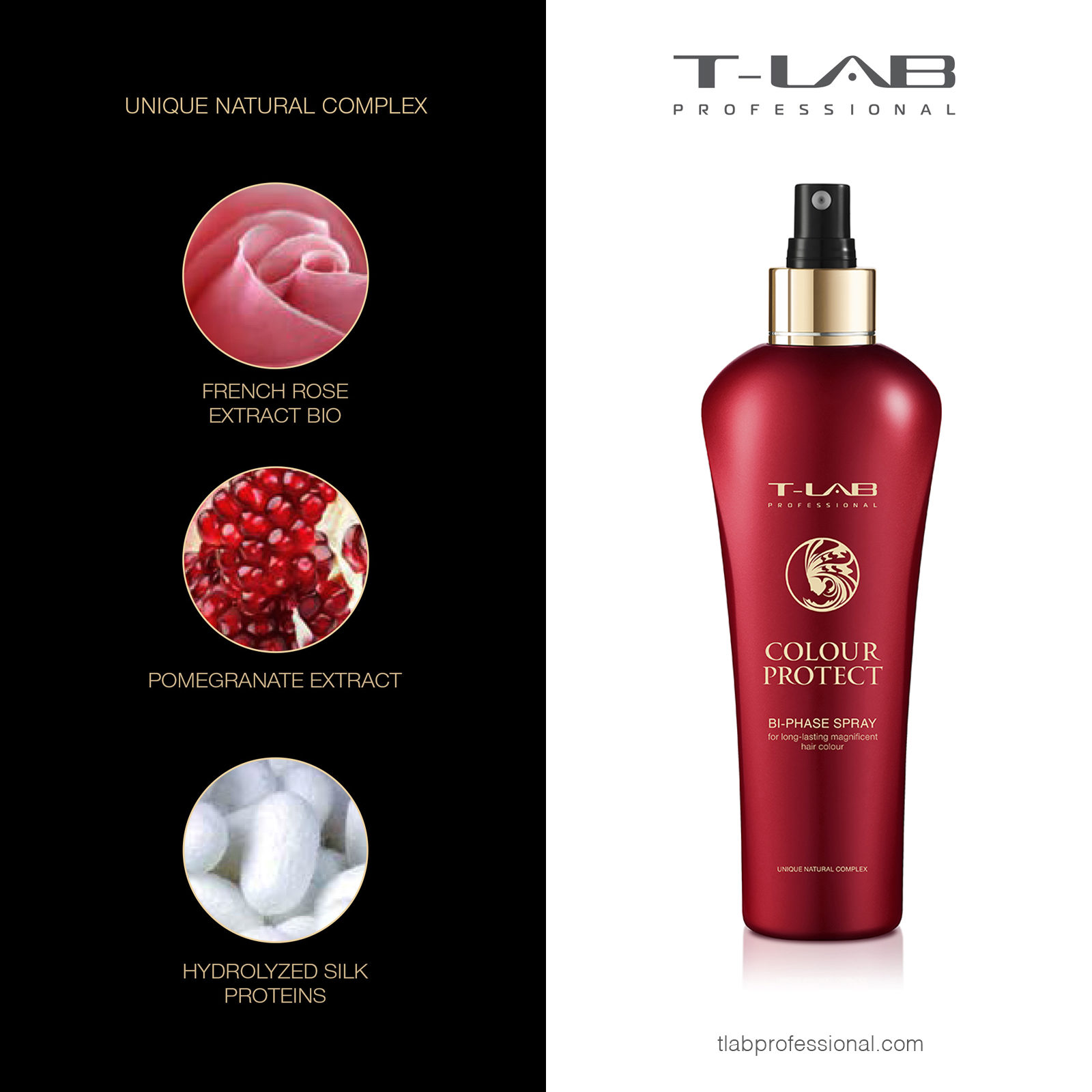COLOUR PROTECT BI-PHASE SPRAY: FRENCH ROSE EXTRACT BIO, POMEGRANATE EXTRACT, HYDROLIZED SILK PROTEINS