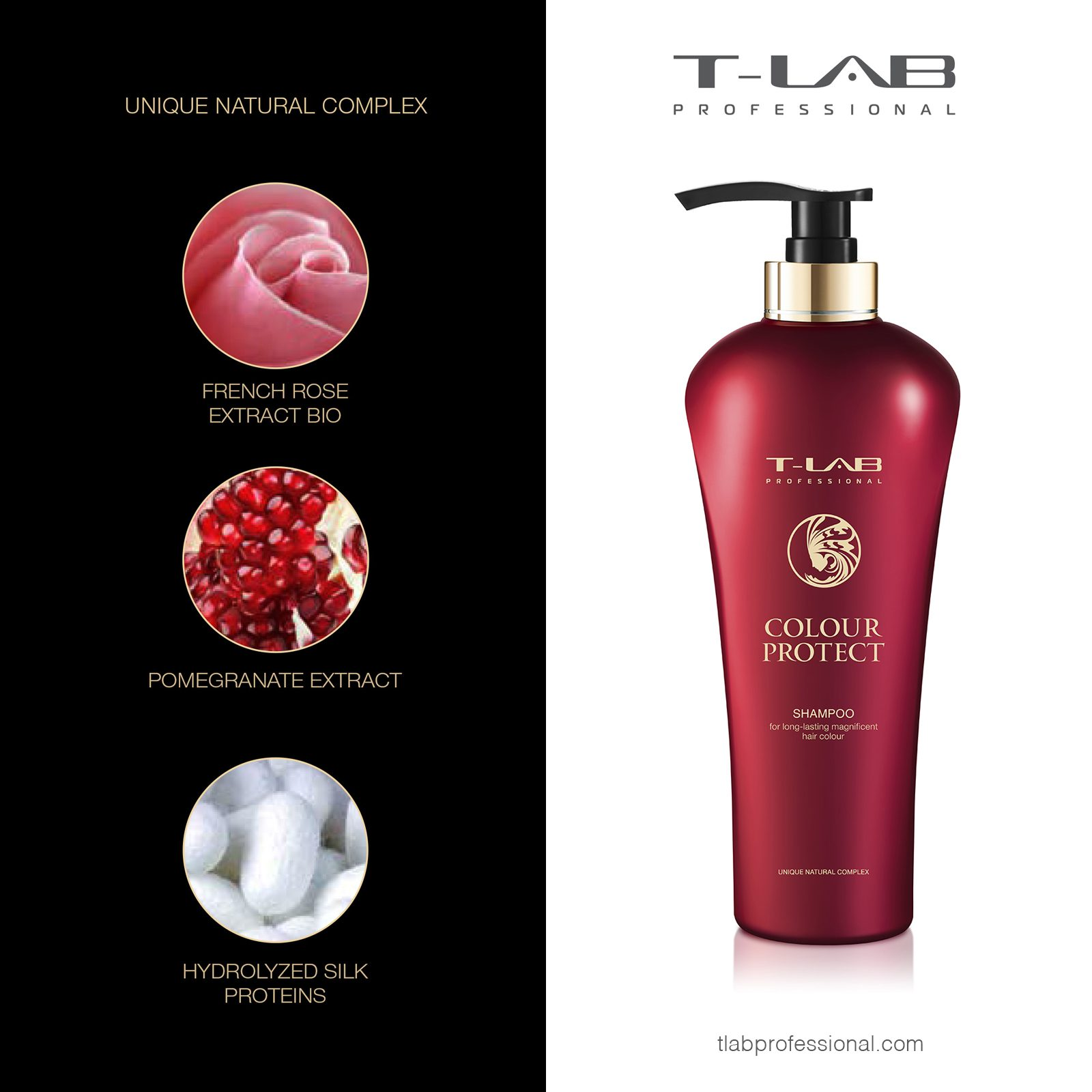 COLOUR PROTECT SHAMPOO: FRENCH ROSE EXTRACT BIO, POMEGRANATE EXTRACT, HYDROLIZED SILK PROTEINS