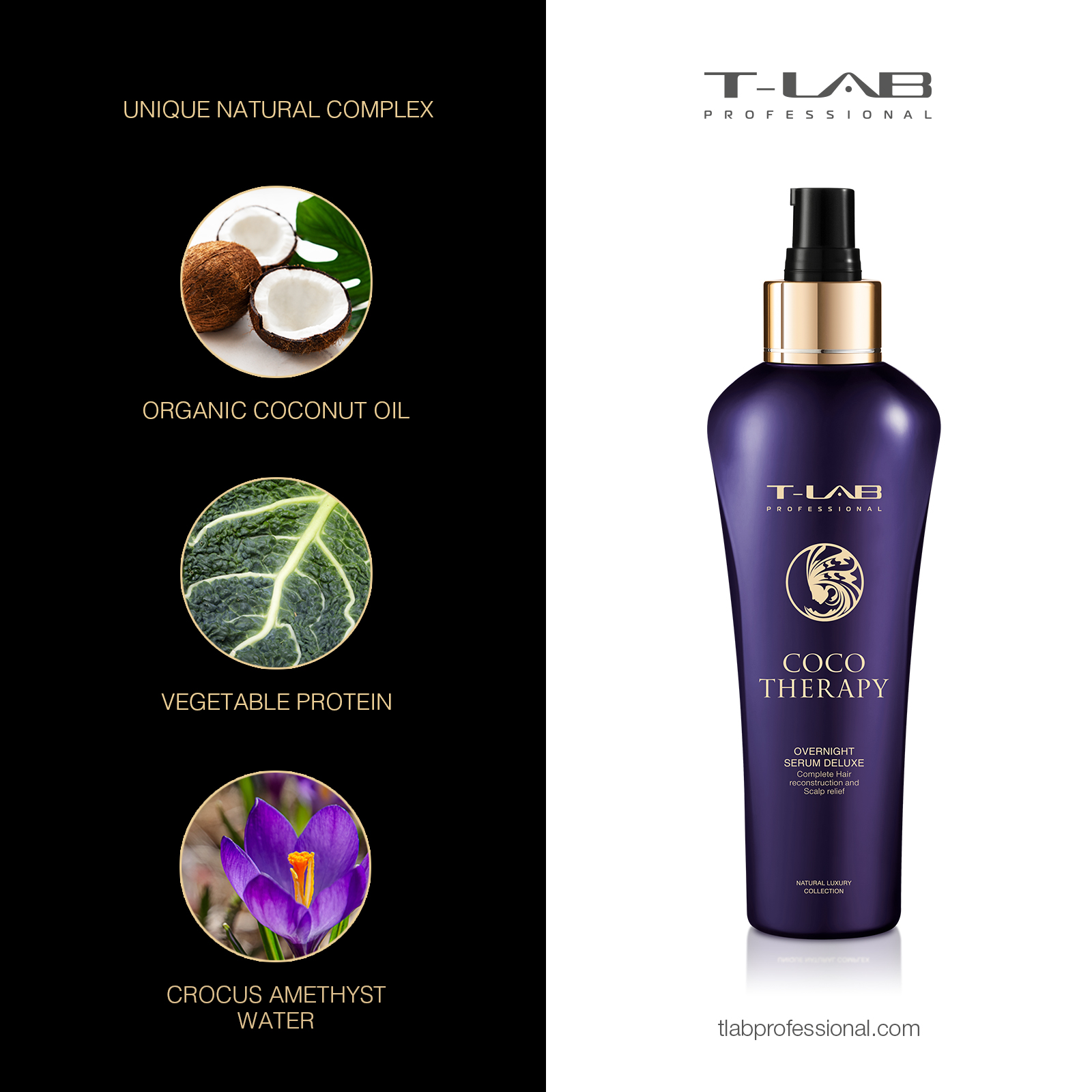 COCO THERAPY OVERNIGHT SERUM DELUXE - Crocus Amethyst Water, Vegetable Protein, Organic Coconut Oil