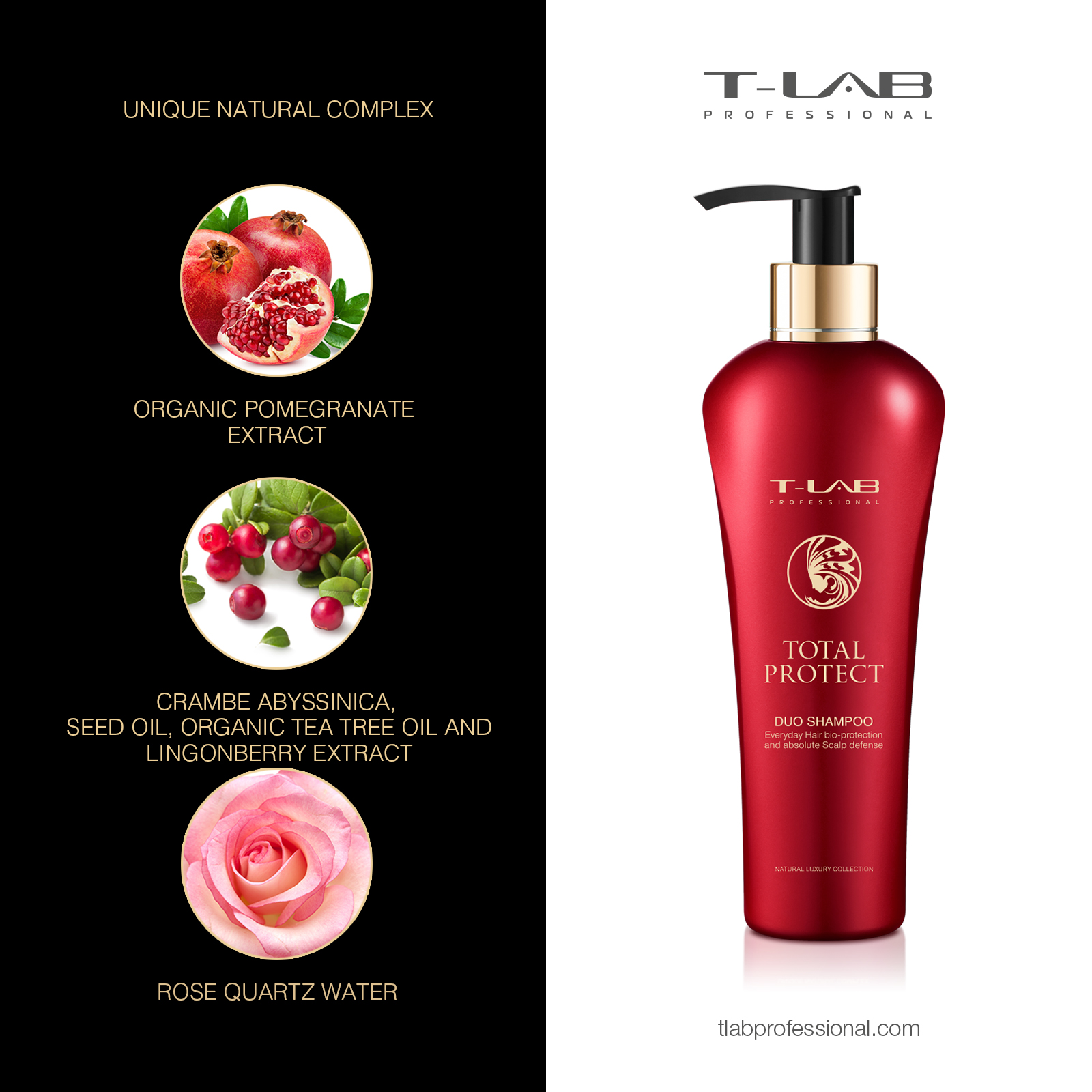 Total Protect DUO Shampoo: ROSE QUARTZ WATER, ORGANIC POMEGRANATE EXTRACT, CRAMBE ABYSSINICA SEED OIL, ORGANIC TEA TREE OIL and LINGONBERRY EXTRACT
