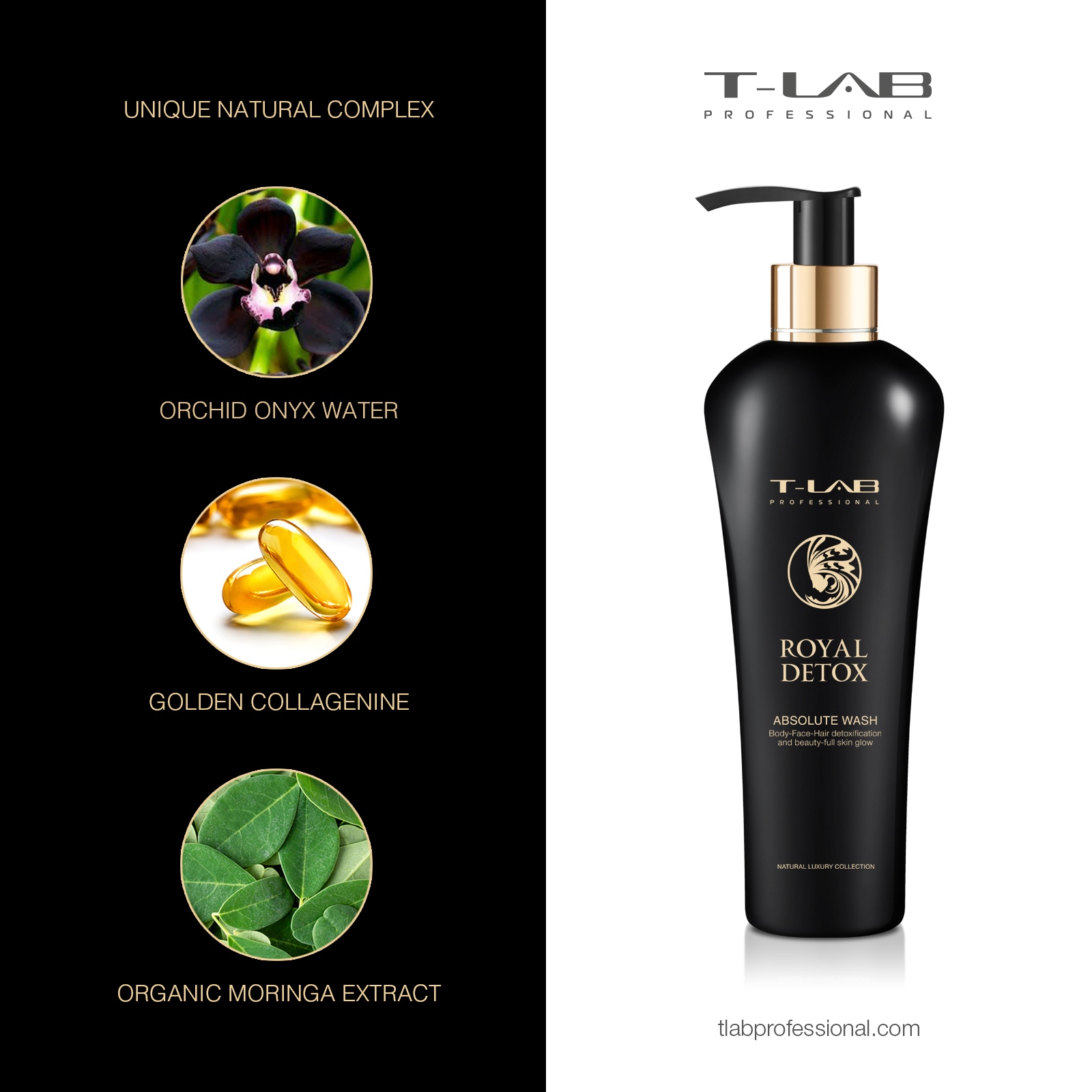 ROYAL DETOX Absolute Wash: Orchid Onyx Water, Organic Moringa Extract, Golden Collagenine